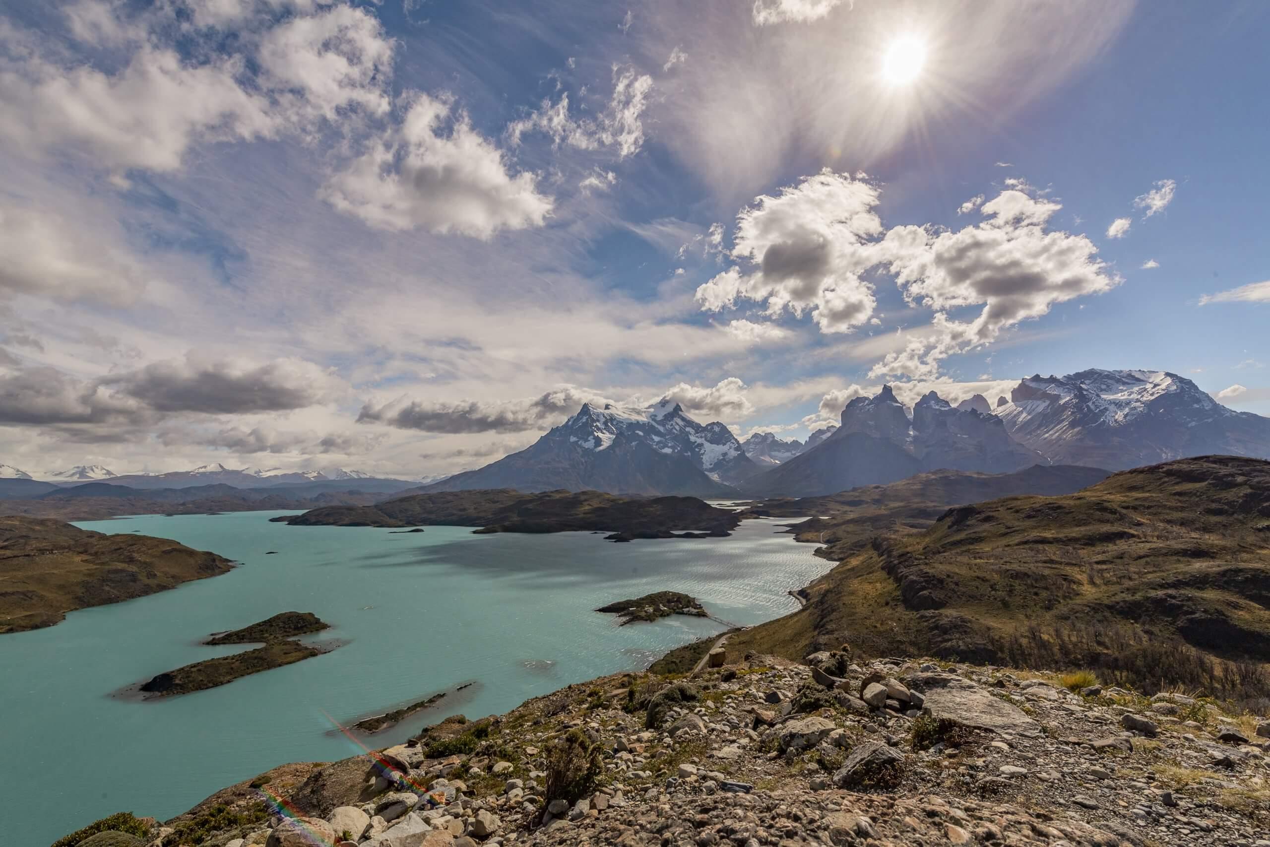 Aussicht auf den Lago Pehoé und die Cuernos